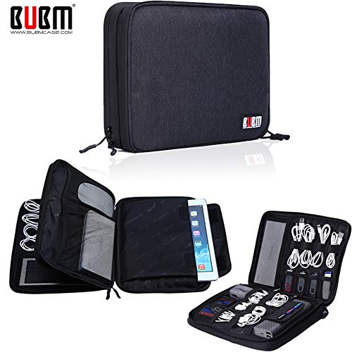 Management Card Adapter (BUBM Travel Cable Organizer,Large Electronics Accessories Bag for Cord,Plug,SD Card, Hard Drive, Power Bank,9.7 Inch iPad or Tablet(Double Layers,Black))