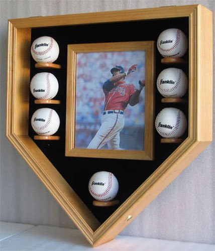 - Baseball & Photo Display Case Wall Cabinet Shadow Box, Holds 8