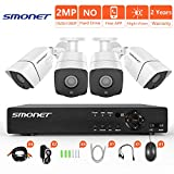 [Newest] Security Camera System 1080P,SMONET 4 Channel Full HD Home Security Camera System(1TB Hard Drive),4pcs 2.0MP Security Cameras,Super Night Vision,P2P,Easy Remote View,Free APP,NO Monthly Fee
