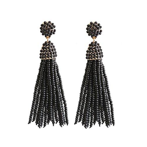 (NLCAC Women's Beaded tassel earrings Long Fringe Drop Earrings Dangle Black)