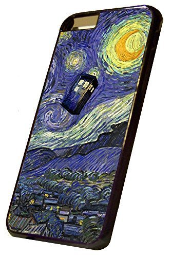 iPhone 6 Hard Case Black, Vincent van Gogh inspired Tardis Doctor Who Design, By Sublifascination, USA 370, DOES NOT FIT THE IPHONE 6 PLUS