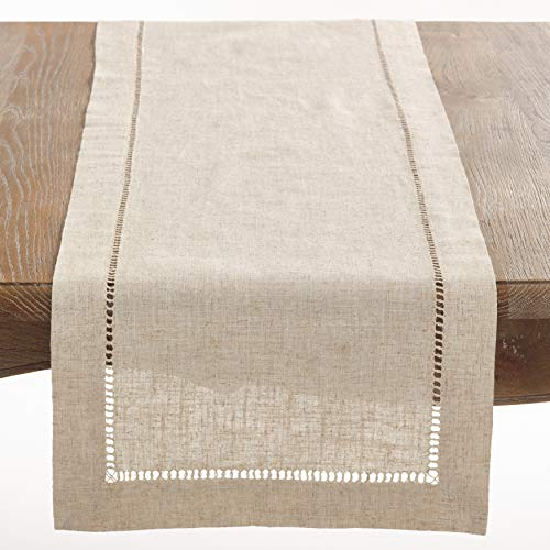 Italian Runner - SARO LIFESTYLE 731.N16120B Toscana Collection Poly and Linen Blend Table Runner with Hemstitch Border, 16