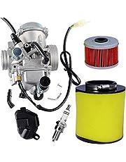 TRX 350 Carburetor for Honda 350 Rancher TRX350FE TRX350FM TRX350TM ATV 4 Stroke with Air Filter Oil Filter Spark Plug by TOPEMAI