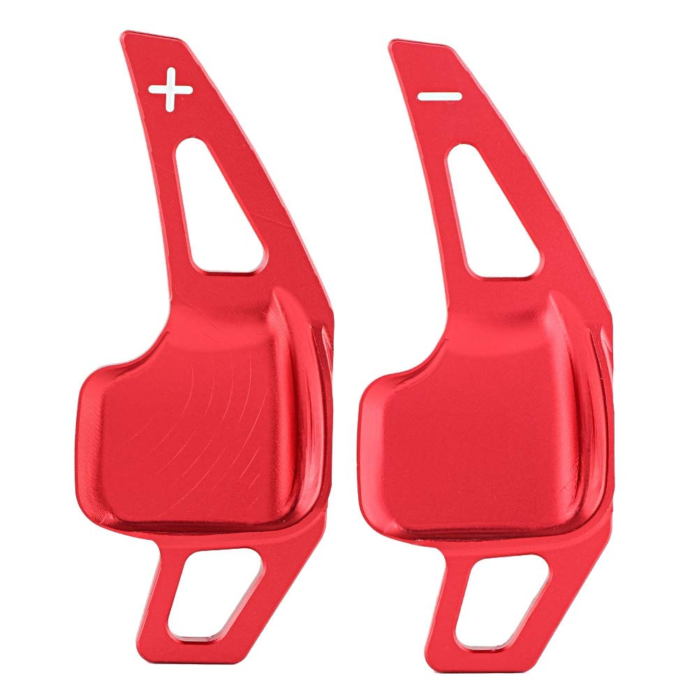 KIMISS 2pcs Aluminum Alloy Car Steering Wheel Shift Paddle Blade Shifter Extension for X1 X4 X5 X6 Z4 Red Color