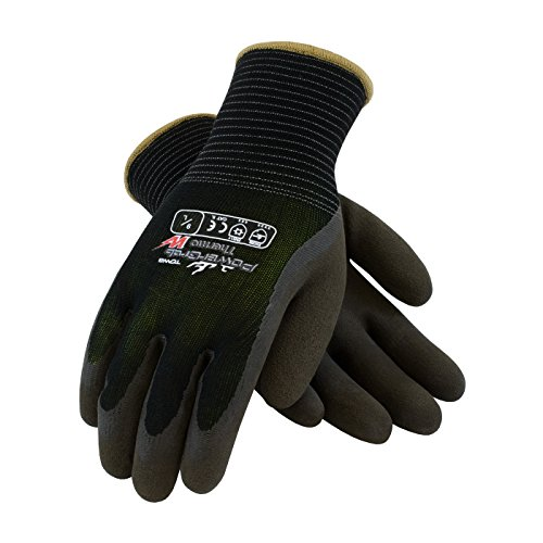 (PowerGrab Thermo 41-1430/L Seamless Knit Nylon Glove with Hi-Vis Acrylic Liner and Latex Micro Finish Grip on Palm and Fingers)