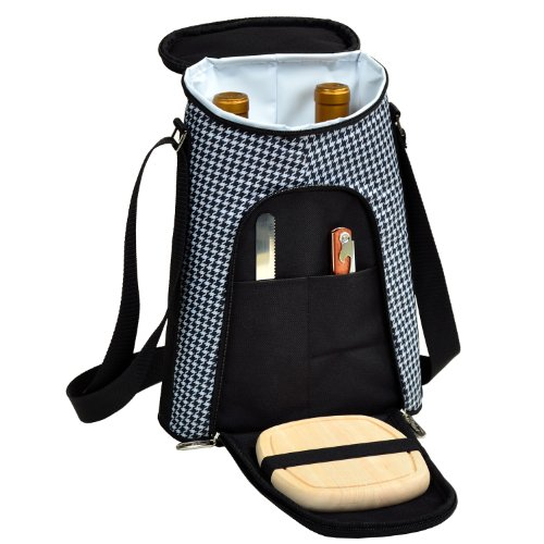 - Picnic at Ascot Stylish 2 Bottle Insulated Wine Tote Bag with Cheese Board, Knife and Corkscrew - Houndstooth