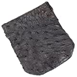 Genuine Ostrich Skin Leather Spring Loaded Coin Pouch (Large, Black)