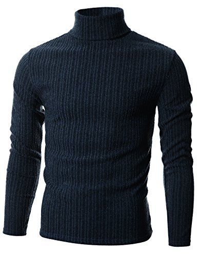 GIVON Mens Slim Fit Wide Ribbed Cotton Blend Turtleneck Pullover/DCP036-NAVY-S