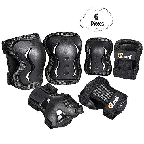 JBM Kids Adults Knee and Elbow Pads with Wrist Guards Protective Gear Set, Impact Resistance for your Children Outdoor Activities Adventure, Roller Skating, Cycling, Scooter, Skateboarding Pads Set