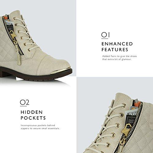 Dailyshoes Donna Militare Allacciatura Fibbia Stivali Da Combattimento Caviglia Alta Esclusiva Trapuntata Tasca Porta Carte Di Credito Placca Oro Avorio