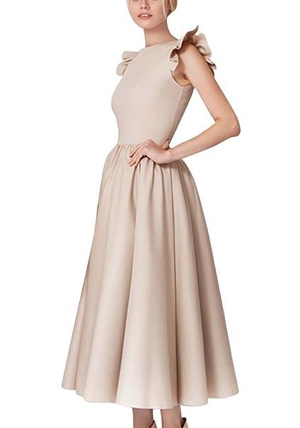 Vestido Mujer Largos Swing Vestido de Baile de Noche Cóctel de Fiesta Albaricoque S