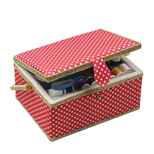 Sewing Basket, Sewing Box Organizer - Includes Sewing Kit Accessories/Insert Tray/Handle/ Built-in Pin Cushion & Interior Pocket - Red Polka Dot - Large 12.2 x 9.2 x 6.7 inches - by D&D Design by D&D