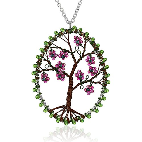 Chuvora Silver-Plated Brass Copper Trunk Eternal Tree of Life Glass Flower Long Pendant Necklace, 30 inches