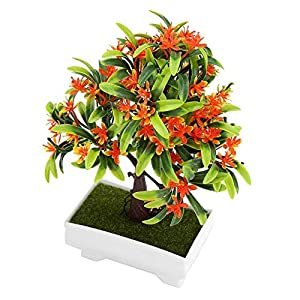 GLOGLOW Artificial Bonsai Flower Pot Fake Silk Flower Tree Plant for Wedding Holiday Home Decor 3