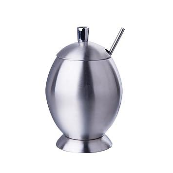 IMEEA cepillado SUS304 acero inoxidable azucarero con tapa y cuchara, diseño de huevos, 10 onzas (300 Milliliter)