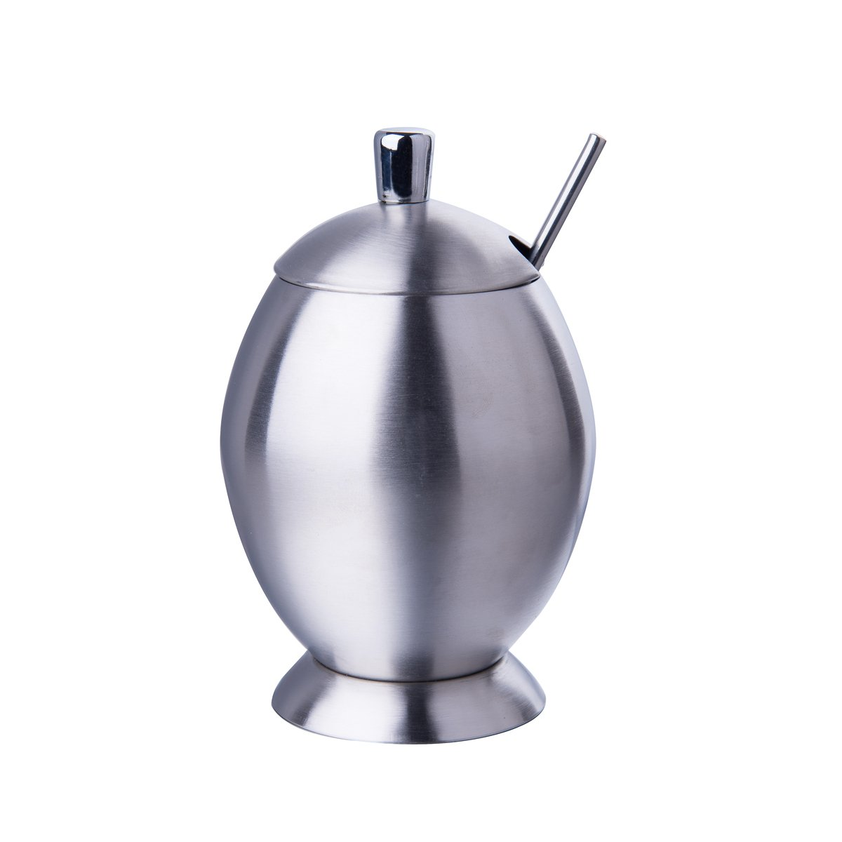 IMEEA Sugar Bowl with Lid and Sugar Spoon for Home Kitchen SUS304 Brushed Stainless Steel, Egg Shape, 9.8 Ounces(290 Milliliter)