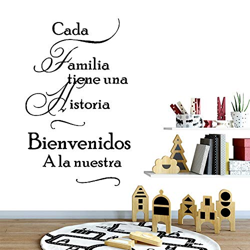Bidsu Wall Decal Quote Words Lettering Decor Sticker Wall Vinyl Spanish Quote Wall Decal CADA Familia tiene UNA historia bienvenidos a la Nuestra Wall Sticker for Living Room Bedroom -