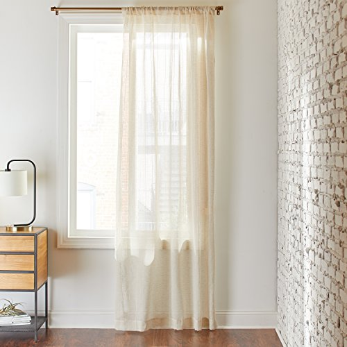 "Rivet Semi-Sheer Modern Pin-Stripe Linen Curtain, One Panel,  52"" x 84"", Rod Pocket, Ivory"