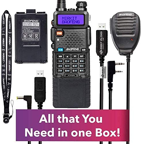 Extended Ham Radio Starter Kit Mirkit Baofeng Radio UV-5R MK4 8 Watt MP Max Power with 3800 mAh, Handheld Mic, Baofeng Programming Cable and Software – Extra Pack
