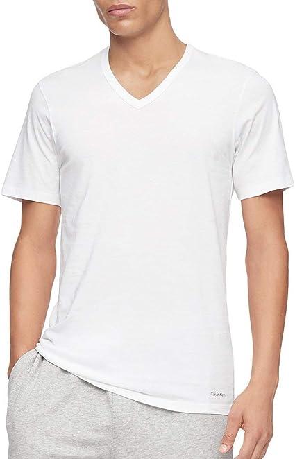 Calvin Klein - Camisetas de algodón para hombre, cuello en V, color blanco, 3 unidades, tamaño grande: Amazon.es: Ropa y accesorios
