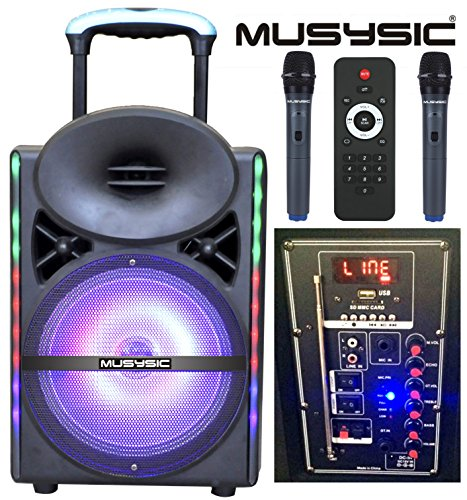 musysic professional 1200w 12 speaker pa system dual uhf wireless mic bluetooth lcd lights. Black Bedroom Furniture Sets. Home Design Ideas