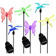 OxyLED Solar Garden Lights, 6 Pack Solar Stake Light Hummingbird Butterfly Dragonfly, Solar Powered Pathway Lights, Multi-Color Changing Outdoor Decorative Landscape Lighting for Garden/Patio/Lawn