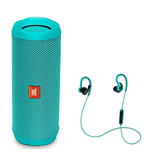 JBL Flip 4 Portable Waterproof Bluetooth Speaker with Reflect Contour Wireless Bluetooth In-Ear Headphones (Teal)