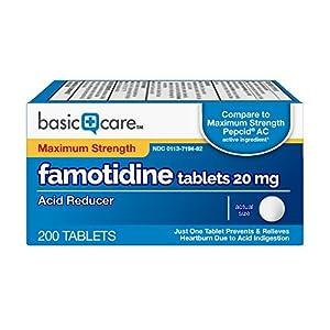 Basic Care Maximum Strength Famotidine Tablets, 200 Count