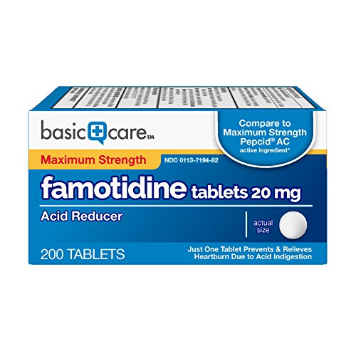 - Basic Care Maximum Strength Famotidine Tablets, 200 Count