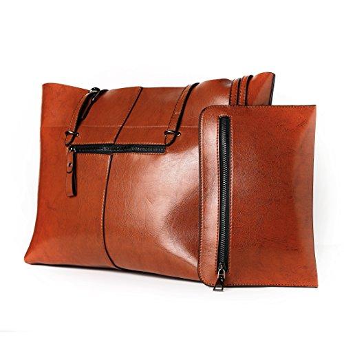 las de la parte de la superior bolsos de de cartera Bolso los de hombro Brown mujeres XSnzTRSO