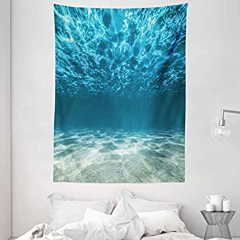 Ambesonne Ocean Decor Collection Tranquil Underwater Scene Clean Sandy Bottom Surface with Sunlights Coming from Up 60W X 40L Inch Bedroom Living Room Dorm Wall Hanging Tapestry
