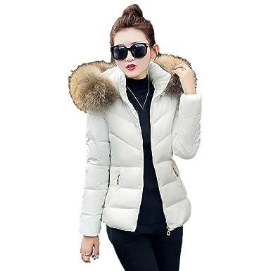 Invierno Abrigo con Capucha Mujeres Moda Corto algodón ...