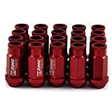 Oda Car Wheel Lug Nuts M12 1.5 6 Spline Wheel Drive Lug Nuts Cone Acorn Taper Seat Closed End Bulge Acorn Lug Nuts 20Pcs/Set - Red