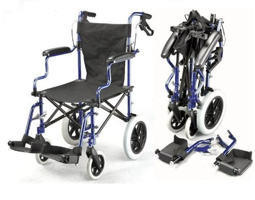 (Lightweight Deluxe Folding Transport Travel Wheelchair in a Bag with Handbrakes ECTR04)