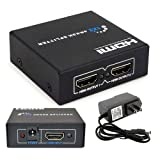Simply Silver - HDMI 1 in 2 out 1080p 3D 4K 1×2 HDCP Stripper Splitter Power Signal Amplifier