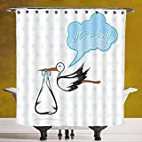 Waterproof Shower Curtain 3.0 by SCOCICI [ Kids Room,Stork Delivering a Cute Baby Boy Congratulations Birthday Ahoy Party Print Decorations Decorative, ] Polyester Fabric Bathroom Shower Curtain