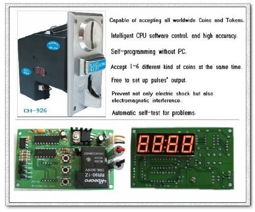 Sintron] Multi Coin Acceptor Selector CH-926 and Timer Control Board for Vending Machine, Accept 6 Kinds of Coins
