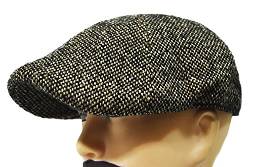 (Brown Mens Thick Twill Wool Blend Duckbill Driving Ivy Golf Casual Cap Hat)