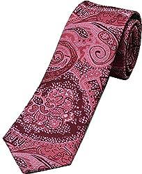 Zarrano Skinny Tie 100% Silk Woven Pink Floral Paisley Tie