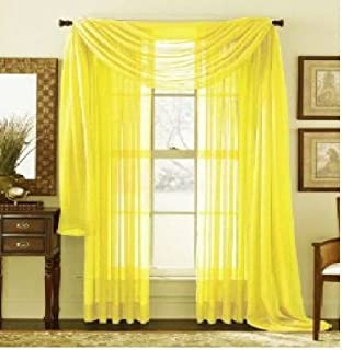 Amazon.com: MONAGIFTS BRIGHT YELLOW Scarf Voile Window Panel Solid ...