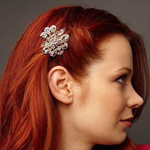 QueenMee Flower Hair Clip Flower Rose Gold Hair Clip Claw Fl