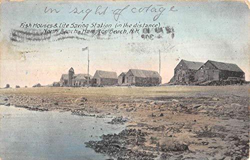 (Hampton Beach New Hampshire Fish Houses Life Saving Station Postcard K106904)