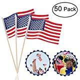 "Mini American Flags Hand Held 50 Pack 4"" x 6"" Mini US Flags on Stick with Round Top for 4th of July Decorations Party Supplies"