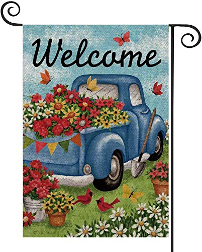 FIBEROMANCE Welcome Garden Flag Spring Flag Watercolor Truck Flower Flag Vertical Double Sided Outdoor Yard Flag Porch…