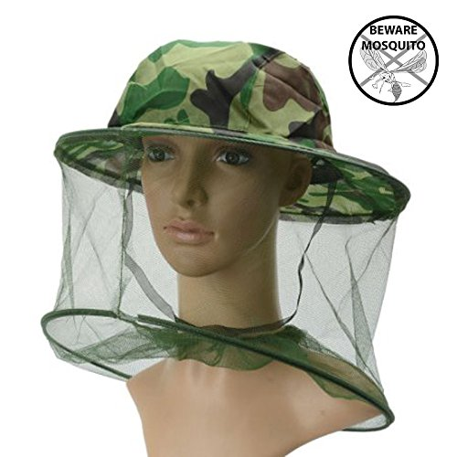 Mosquito Anti Head Face Net Hat Mask, Camo Army Green Outdoor Sun Guard Long Mesh Netting Clothing for Men Women, Fishing Safari Military Hunting Hiking Camping Faca Veil Protection Insect Bug Fly (Camo Bug)