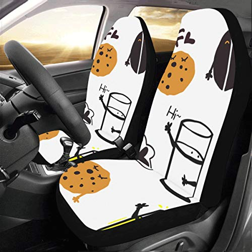 5325 Chocolate - Glass Sweet Milk and Cookie Biscuit Custom New Universal Fit Auto Drive Car Seat Covers Protector for Women Automobile Jeep Truck SUV Vehicle Full Set Accessories for Adult Baby (Set of 2 Front)