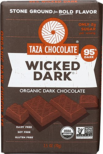 Taza Chocolate | Amaze Bar | Wicked Dark | 95% Stone Ground | Certified Organic | Non-GMO | 2.5 Ounce (1 Count) made in Massachusetts