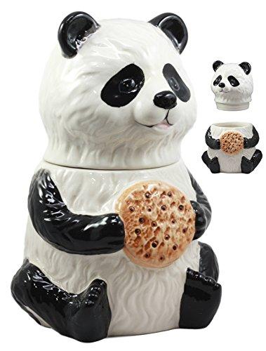Collectible Ceramic Teddy (Ebros The Kung Fu Dragon Warrior Giant Panda Ceramic Cookie Jar 9.5