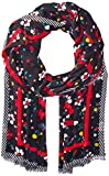Marc Jacobs Women's Painted Flowers and Hearts Stole Scarf, black/multi, One Size