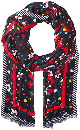 Marc Jacobs Women's Painted Flowers and Hearts Stole Scarf, black/multi, One Size by Marc Jacobs